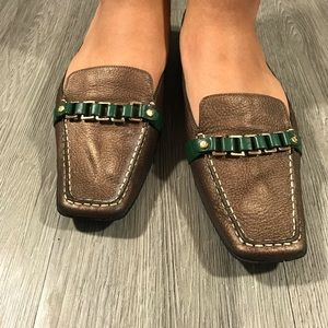 Cole Haan Nike Air Copper and Green leather mules.